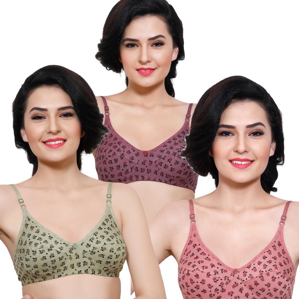 Printed Full-Coverage Bra (Pack Of 3)