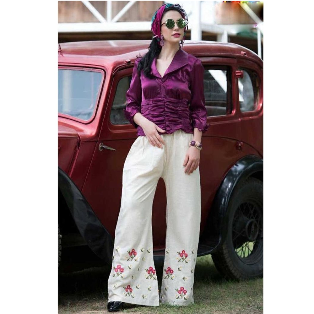 Color Threads Embroidered Roses Print Palazzos for Ladies