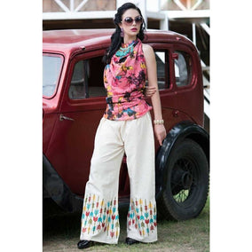Color Threads Embroidered Palazzos for Casual Wear for Ladies