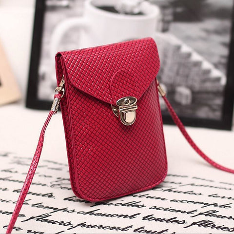 Dark Red Cute Small Japanese Leather Women Messenger Bags Korean Phone Hand Bag Purse