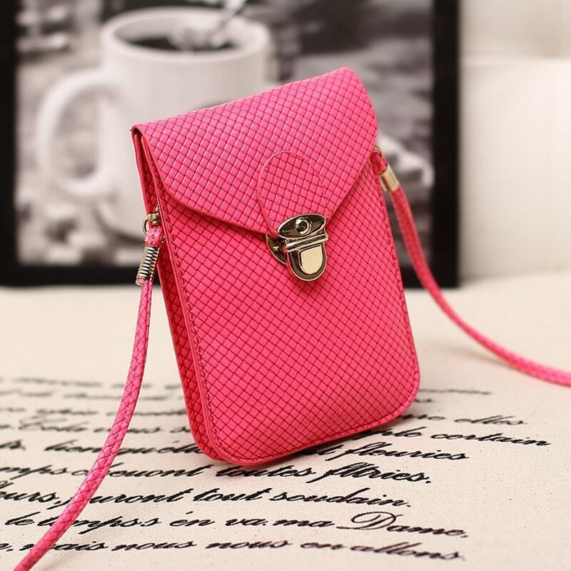 Rose Red Cute Small Japanese Leather Women Messenger Bags Korean Phone Hand Bag Purse