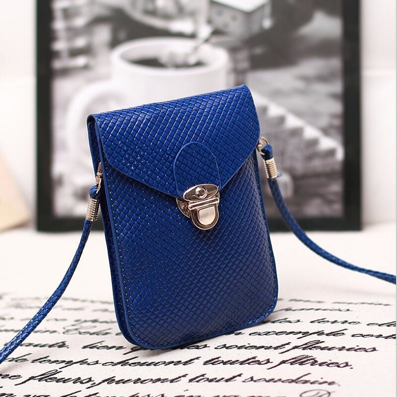 Blue Cute Small Japanese Leather Women Messenger Bags Korean Phone Hand Bag Purse