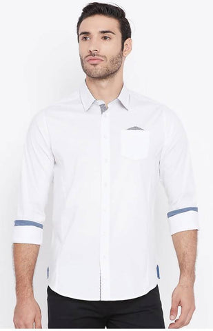 Mixtakes White Cotton Casual Shirt