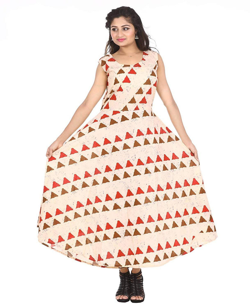 Dhruvi Designer Geometrical Print Cotton Cambric Women's Maxi Long Dress with Attached Sleeve (Free Size)