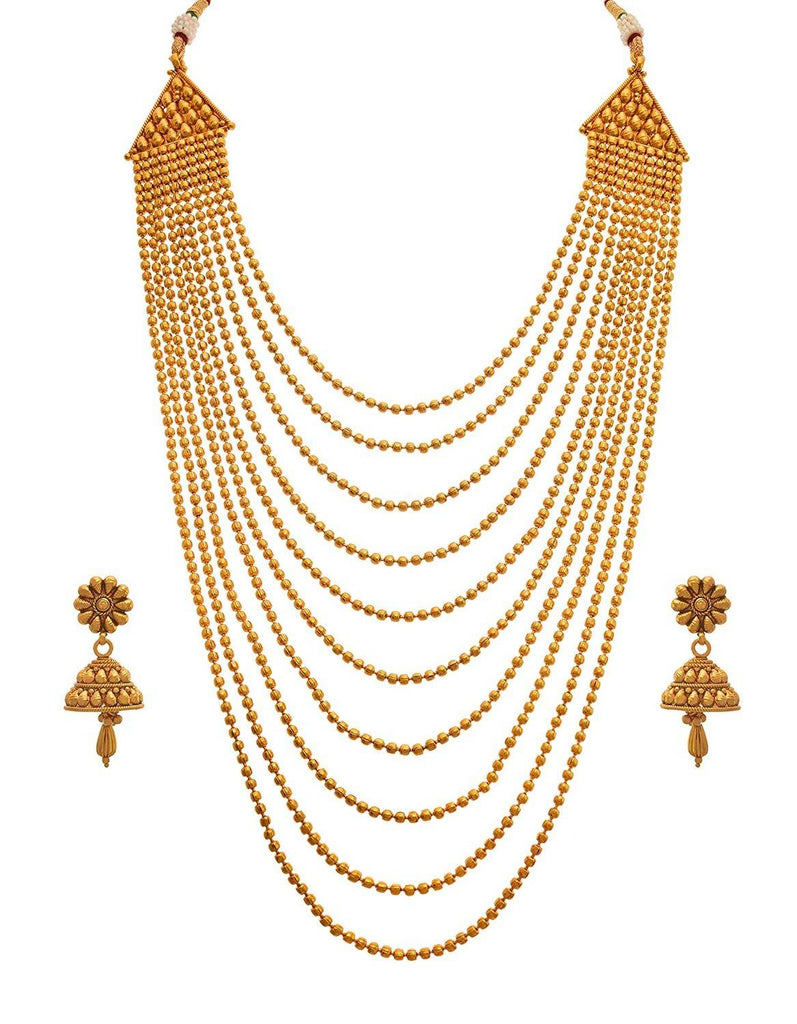 JFL - Traditional and Ethnic One Gram Gold Plated Multi Strands Round Gold Bead Necklace with Jhumka Earrings Set for Women & Girls