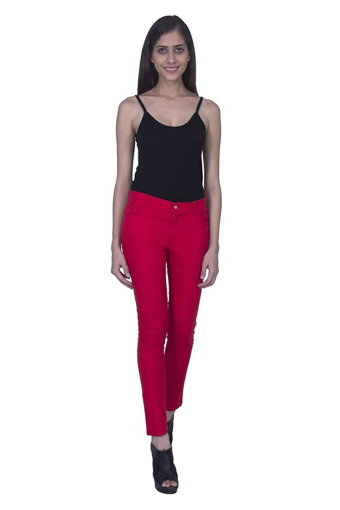 Hot Red Cotton Jeans