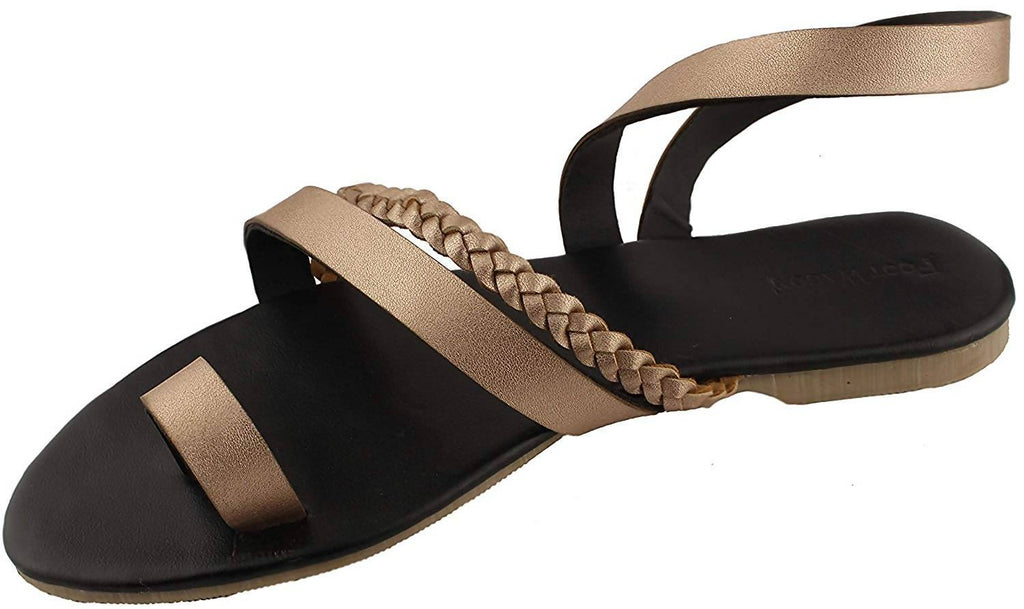 Foot Wagon Rose Gold Braided Flats | Black Slippers |Cross Straps |Toe Flats |Ladies Sandal |Straps|Women Flats | Ladies Slippers |Girls Slippers |Strap Flats| Chappals