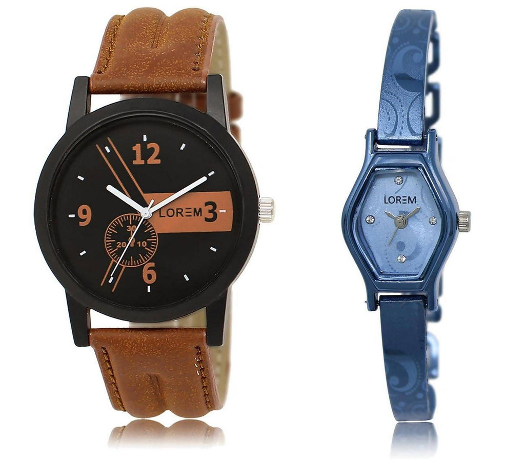 LOREM LR1-218 Stylish Blue & Black Contemporary & Round Boy's & Girl's Metal Bracelet & Leather Watch - For Men & Women