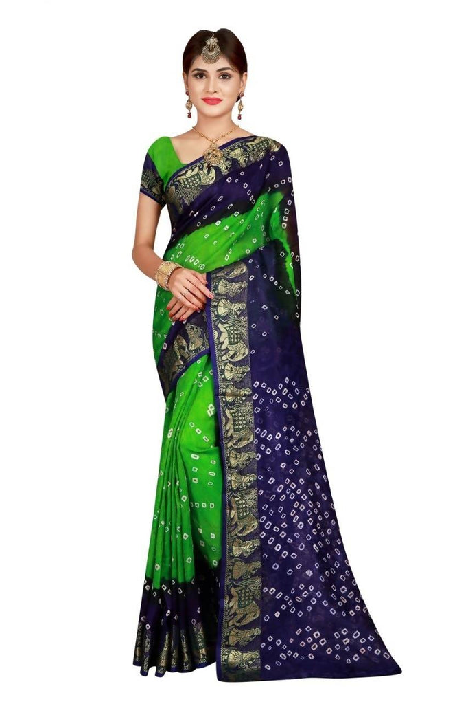 HARSHITA CREATION ART SILK GREEN & PURPLE HAND WOWEN BANDHANI SAREE