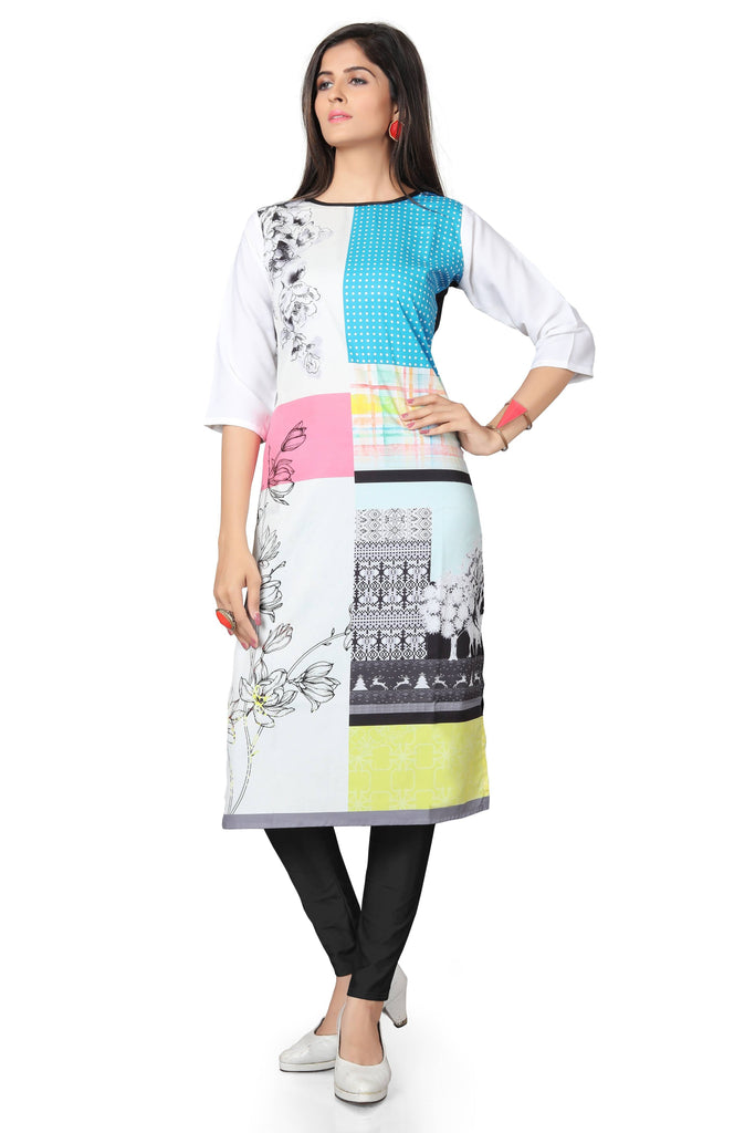 Harshita Creation White & Blue Color American Crepe Printed Casual Kurti For Women