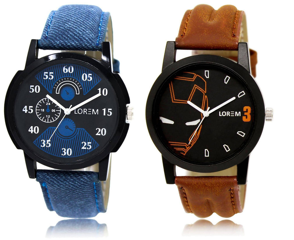 LOREM LR2-4 COMBO Black Round Boy's Leather Watch - For Men