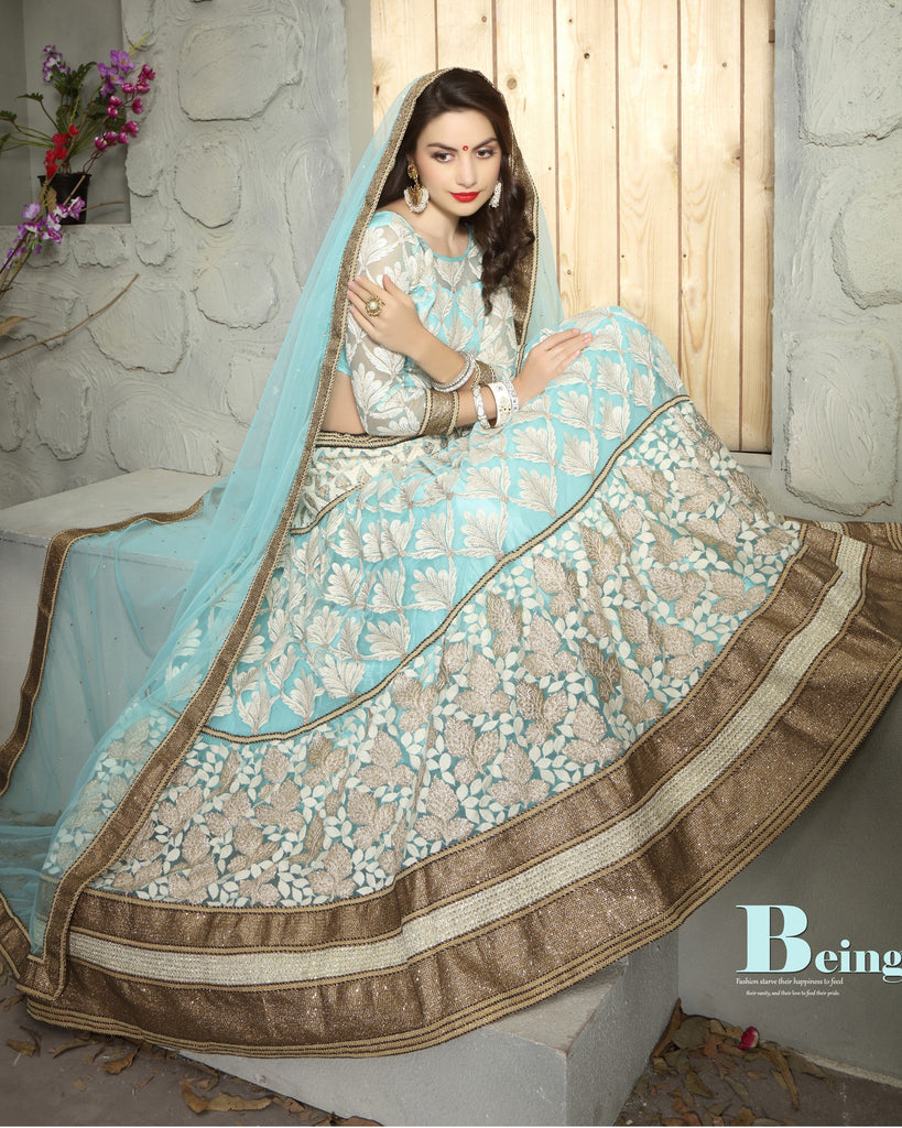 Aasvaa Fancy Women's Embroidered Net Lehenga Choli With Un-Stitched Blouse (MIKLA57B_Paleturquoise_Free Size)