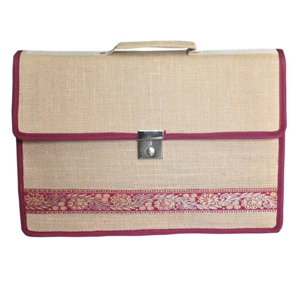 Attache Executive Jute File Bag (Beige)
