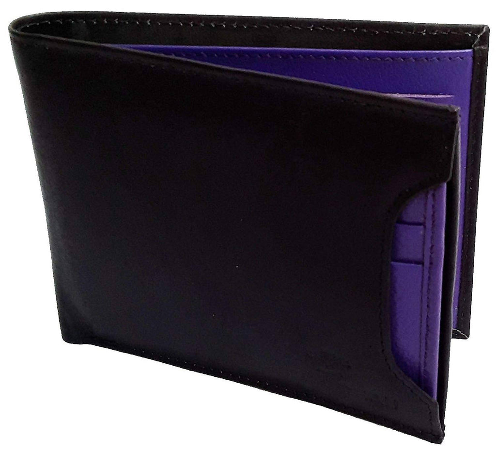 NUKAICHAU Black Blue Single Fold Men's Leather Wallet