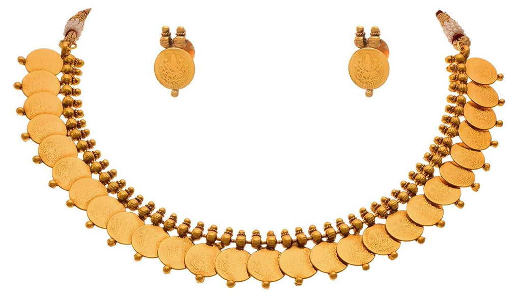 Jfl - Jewellery For Less Traditional Ethnic Temple Laxmi Goddess Coin One Gram Gold Plated Designer Necklace Set For Women And Girls