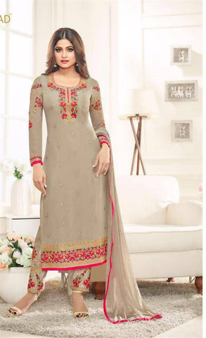 Reeva Trendz Women's Grey Heavy Semi-Sttiched Salwar Suit