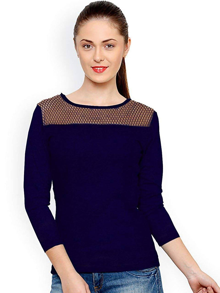 Harshita Creation Women's Fancy Round Neck Full Sleeves Party Wear Blue Knitting Plain T-Shirt(HC-V-Tipsy-13-Blue-XL)