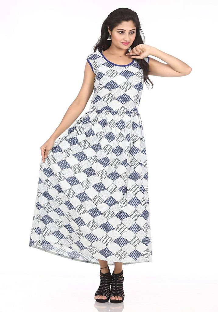 Dhruvi Gathered Checkered Print Cotton Maxi Dress for Women (Free Size S-XXL)