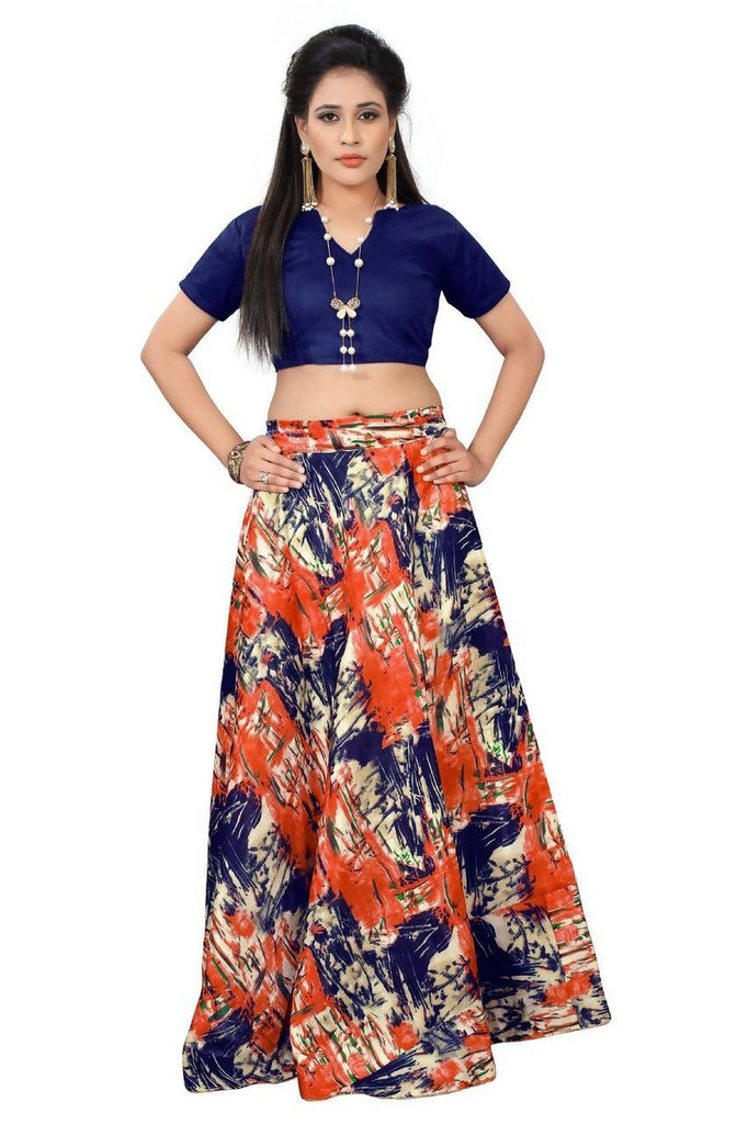 Madhav Design Printed Semi Stitched Lehenga Choli  (Blue, Orange)