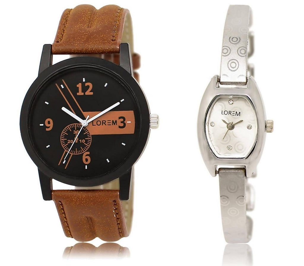 LOREM LR1-219 Stylish Silver & Black Contemporary & Round Boy's & Girl's Metal Bracelet & Leather Watch - For Men & Women