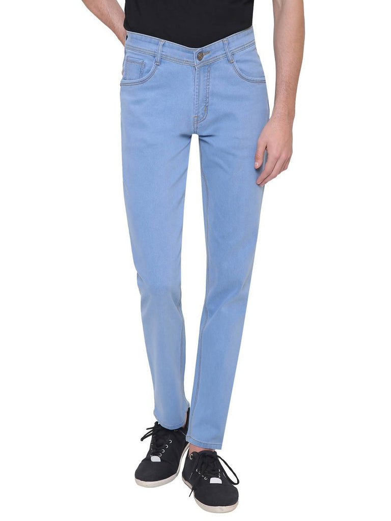 Gradely Men's Regular Fit Ice Blue Jeans
