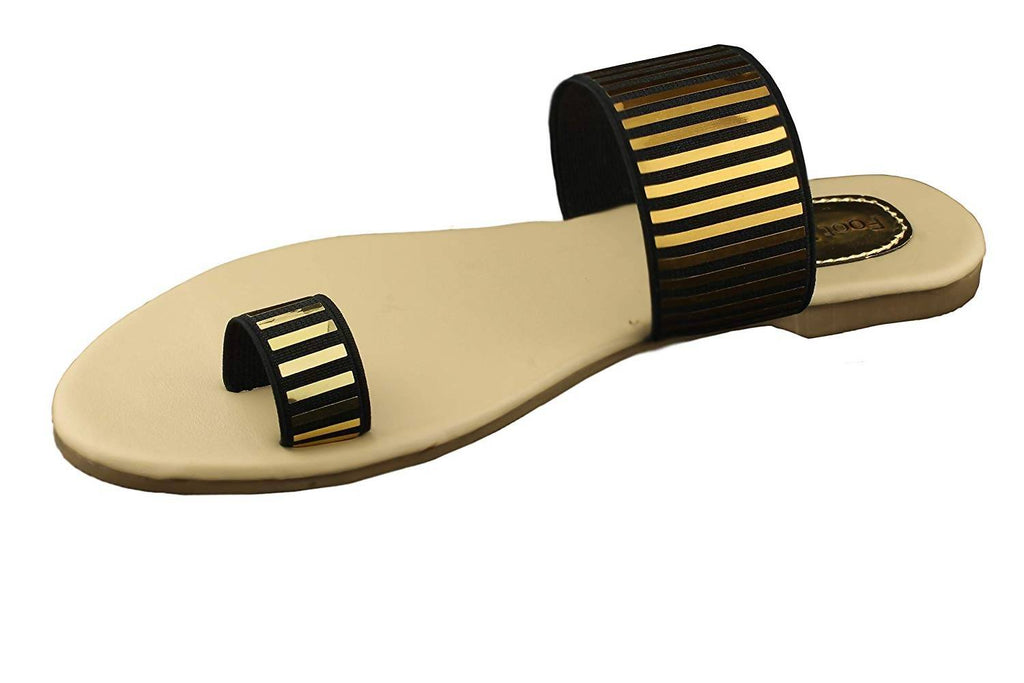 Foot Wagon'sBlack and Golden Striped Flats |Creame Slippers | Sandals | Flats |Ladies Sandal |Black and Golden |Stripes|Women Flats | Ladies Slippers |Girls Slippers |Toe Flats| Chappals|