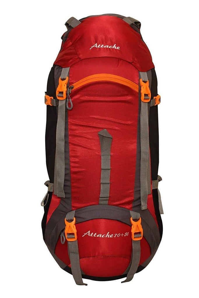 Attache 1026R Rucksack, Hiking Backpack 75Lts (Red) With Rain Cover