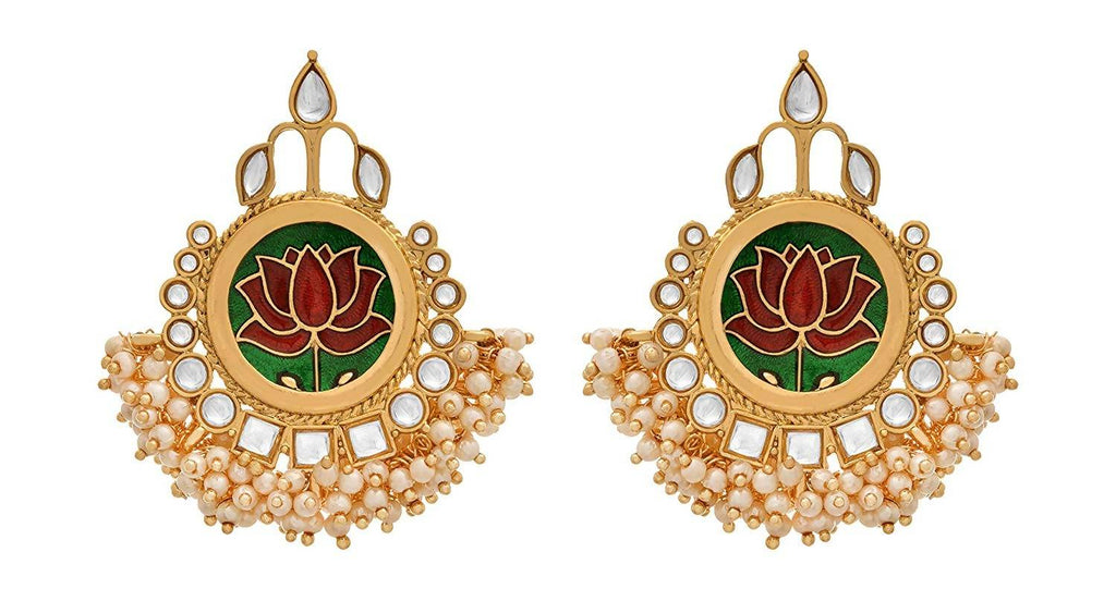 JFL - Traditional Ethnic One Gram Gold Plated Meenakari Kundan & Pearl Designer Earring For Women & Girls.