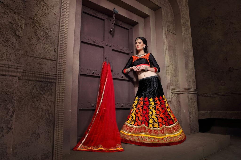 Aasvaa Terrific Women's Embroidered Net Lehenga Choli With Un-Stitched Blouse (NMRLA3401_Black_Free Size)