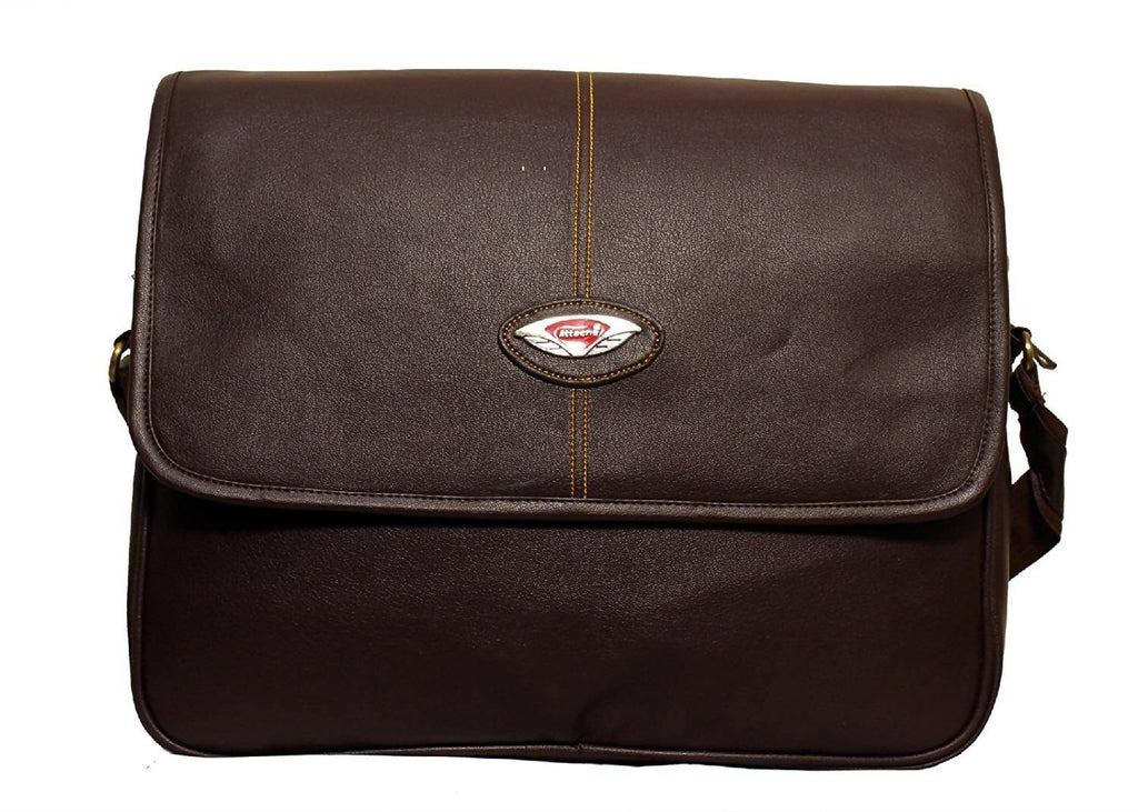 Attache 15.6 inch Synthetic Sleek Faux Leather Laptop and Tablet Bag - Macbook Pro, Macbook Air Laptop Bag (Brown)