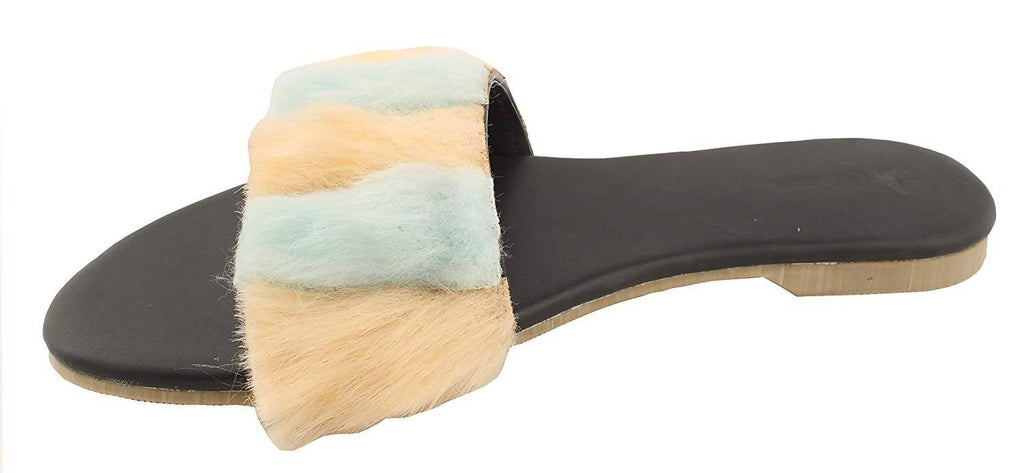 Foot Wagon Double Shaded Fur Flats | Black Slippers |Powder Blue and Creame Sandals | Flats |Ladies Sandal |Blue |Fur |Women Flats | Ladies Slippers |Girls Slippers |Black| Chappals| Fur Strap|