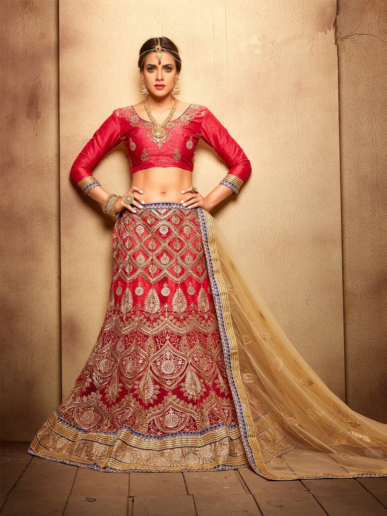 Aasvaa Appealing Women's Embroidered Net Lehenga Choli With Un-Stitched Blouse (NMMJA7006A_Royal Red_Free Size)