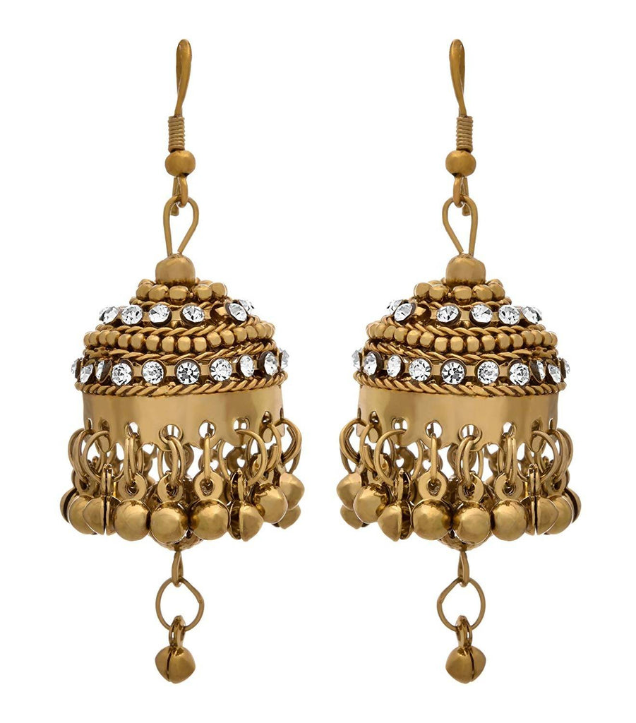 JFL -Traditional Ethnic One Gram Gold Plated Diamond jhumka Earring for Women & Girls.
