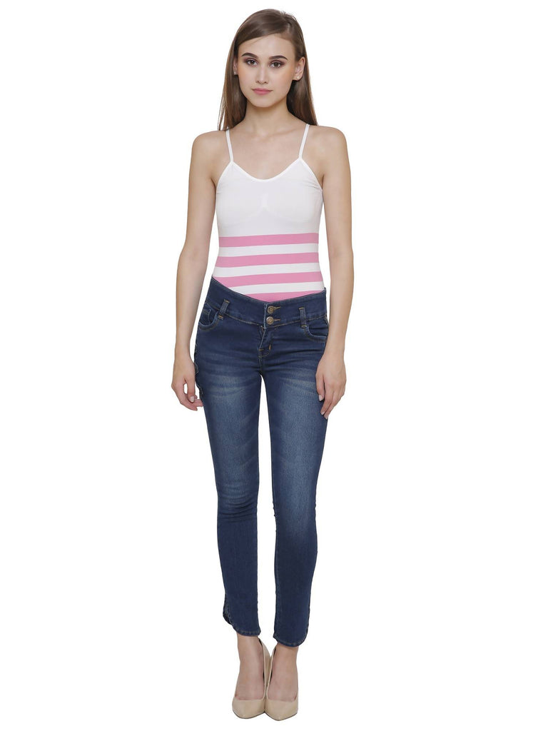 NJ's, Women Skinny Fit, Navy Blue, Dobby Denim Jeans