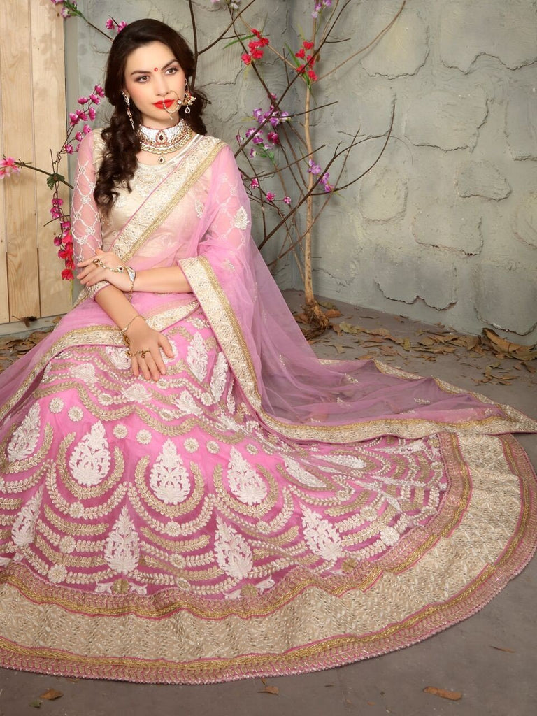 Aasvaa Gracious Women's Embroidered Net Lehenga Choli With Un-Stitched Blouse (MIKLA60C_Baby Pink_Free Size)