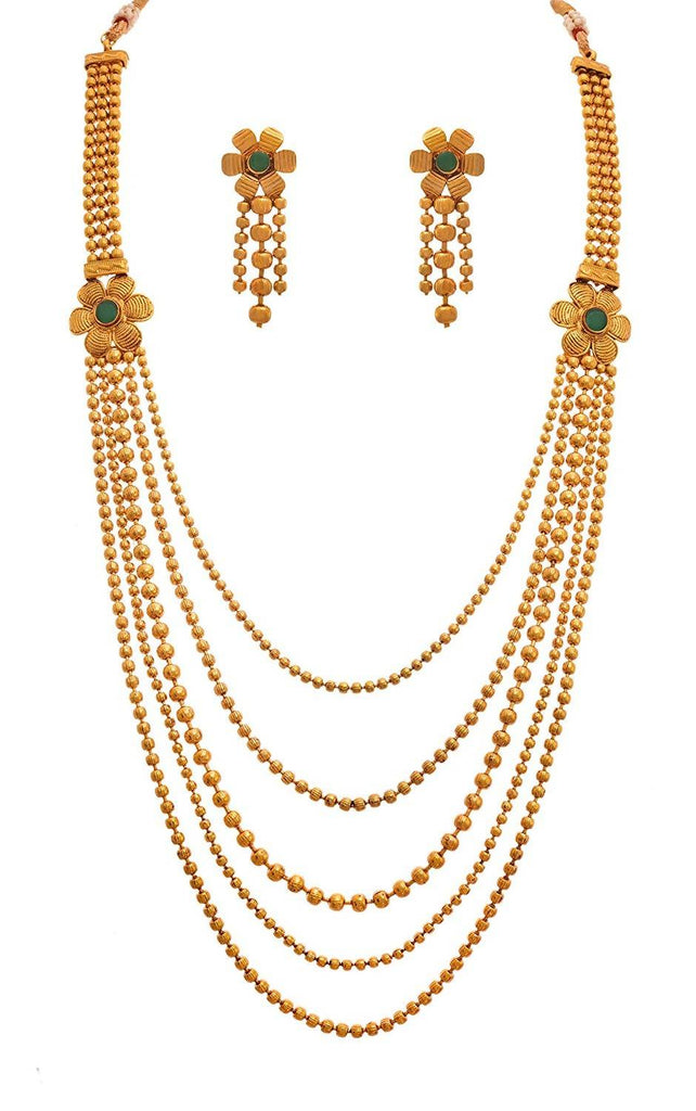 JFL - Traditional Ethnic One Gram Gold Plated Stones & Diamond Designer Long Necklace Set with Earring for Women & Girls.