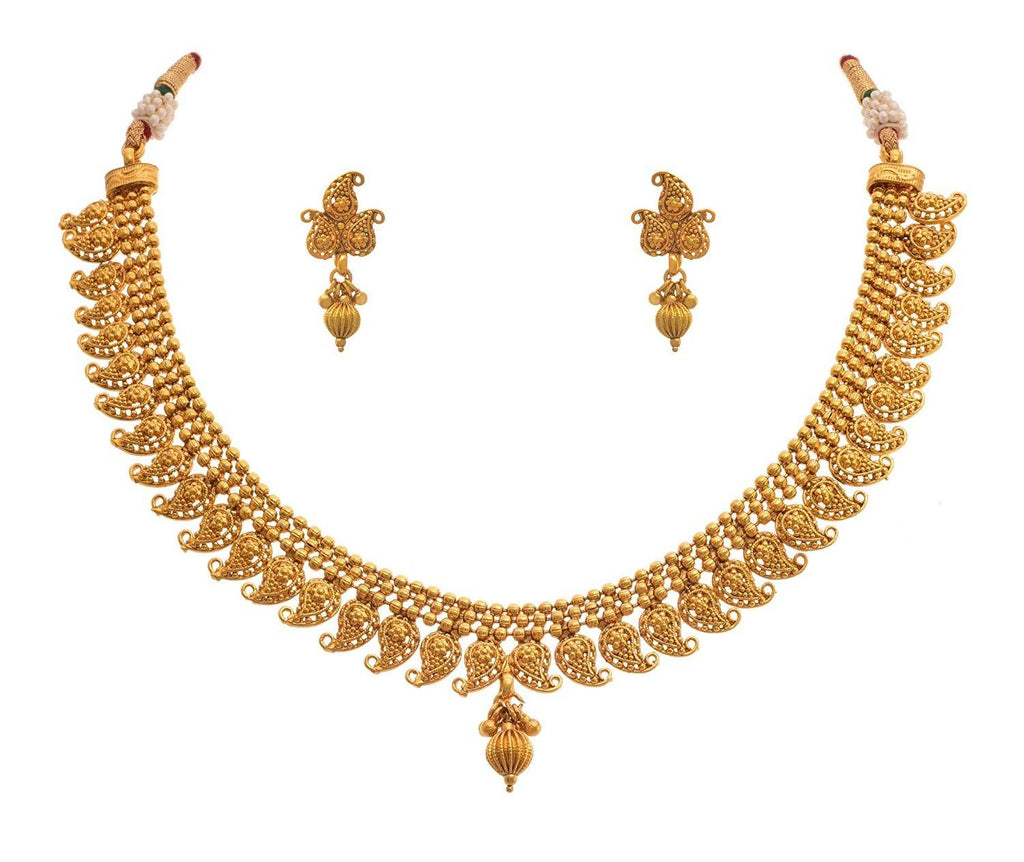 JFL - Traditional and Ethnic One Gram Gold Plated Kaerie Designer Necklace Set with Earring for Women & Girls.