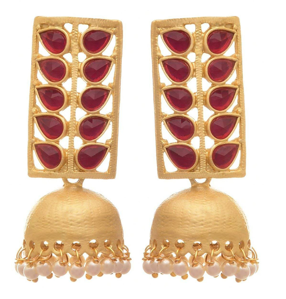 JFL - Traditional Ethnic Fusion Rectangular One Gram Matt Gold Plated Designer Jhumka Earring for Women & Girls
