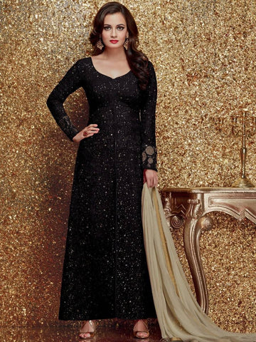 Reeva Trendz Women's Black Heavy Semi-Sttiched Salwar Suitt