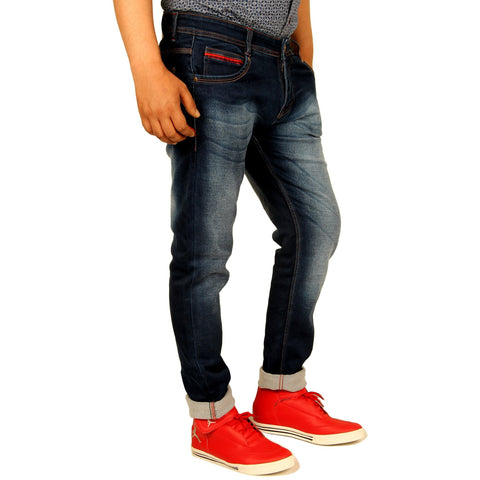 Xcess Blue and Shady Denim Slim-fit Jeans