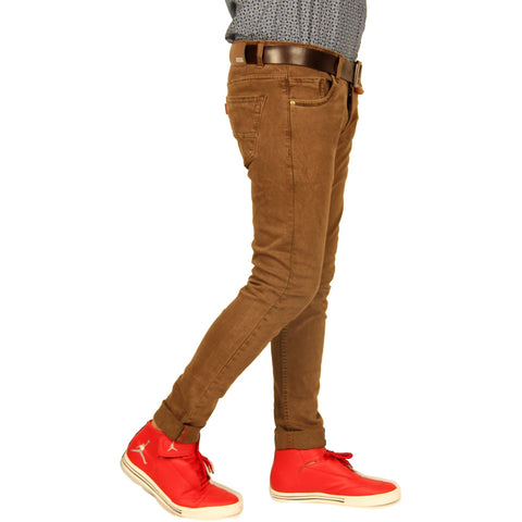 Xcess Light Chocolate Shade Slim-fit Denim Jeans for Party Wear