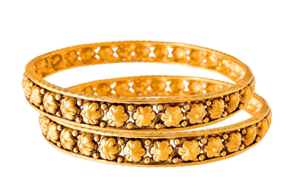 JFL - Traditional Ethnic One Gram Gold Plated Floral Designer Bangle Set for Women & Girls.