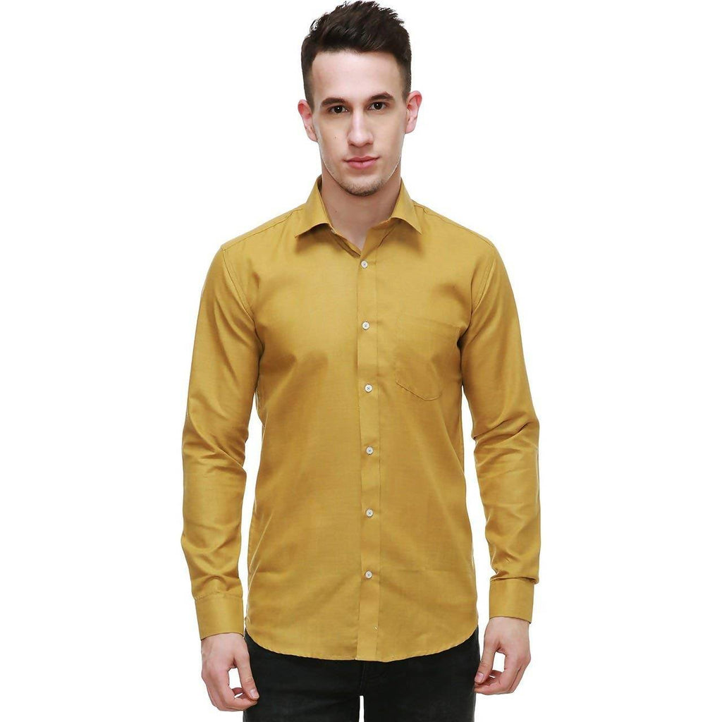 NIMEGH GOLDEN COLORED COTTON CASUAL SOLID SHIRT FOR MEN