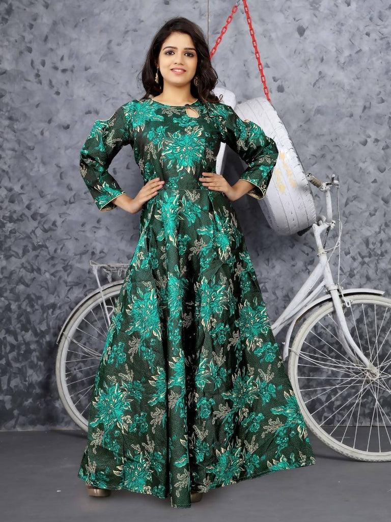 HARSHITA CREATION GREEN JACQUARD FULLY STICHED GOWN