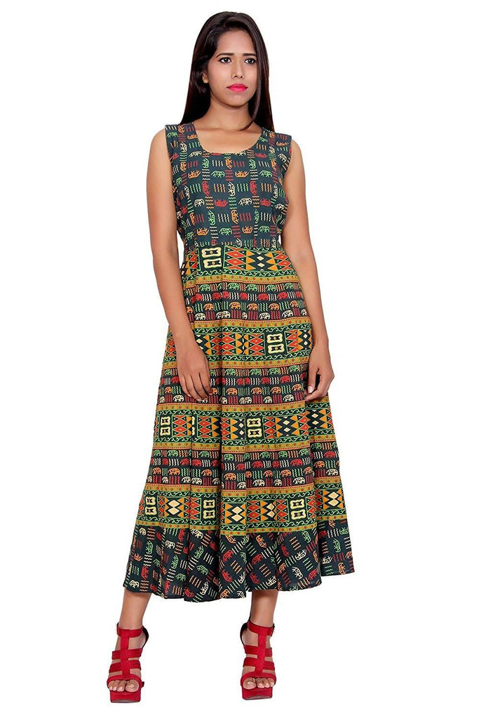 Dhruvi Jaipuri Abstract Print Long Cotton Maxi Dress for Women and Girls in Free Size (Green, Up to S-XXL)