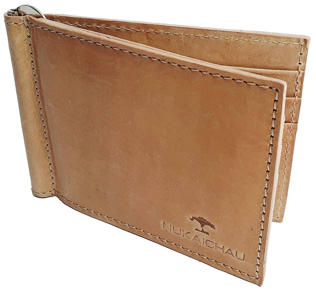 NUKAICHAU Brown Tan Single Fold Men's Hunter Money clipper Wallet