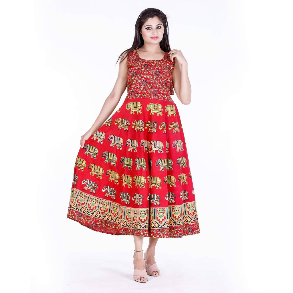DHRUVI Party and Casual Wear Free Size Red Elephant Print Long Cotton Maxi Dress for Women Jaipuri Print(up to XXL Size)
