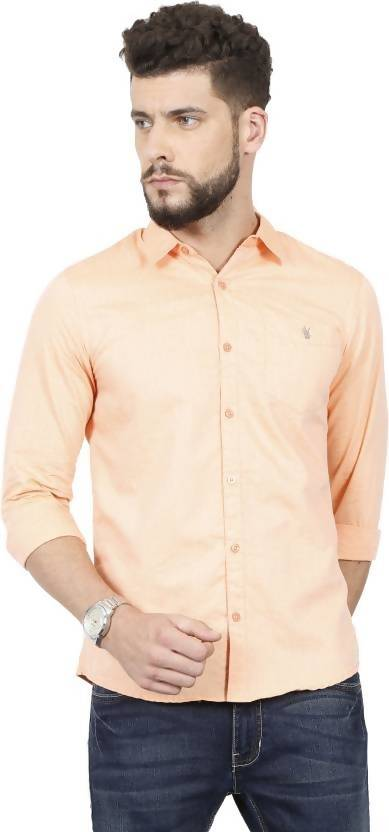 Alvin Kelly Men's Solid Casual Orenge Shirtt