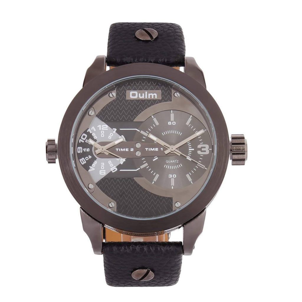 Oulm HP3221BL Multifunction Black Dial Leather Strap Wrist Watch / Casual Watch - For Men's