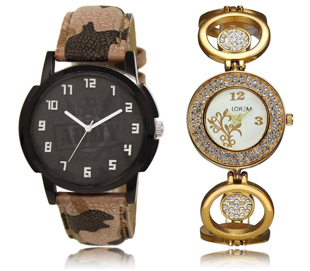 LOREM LR3-204 Stylish Multicolor Round Boy's & Girl's Metal Bracelet & Leather Watch - For Men & Women